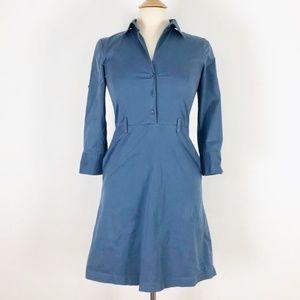 Theory Blue Collared Shirtdress 4 Small